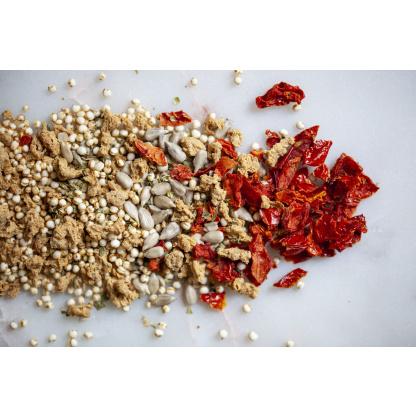 Quinoa Paradeiser Mix Einzelbestandteile auf Teller