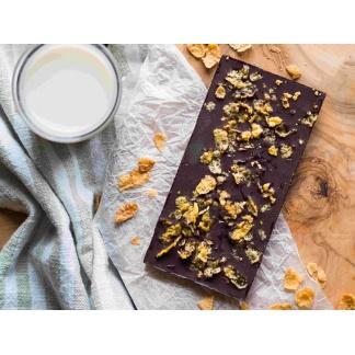 Schokolade mit Cornflakes von oben