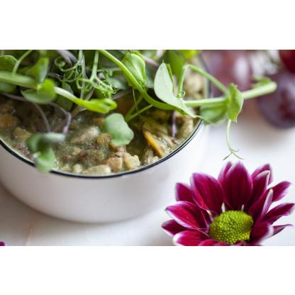 Sojaflocken Spinat Mix garniert Nahaufnahme