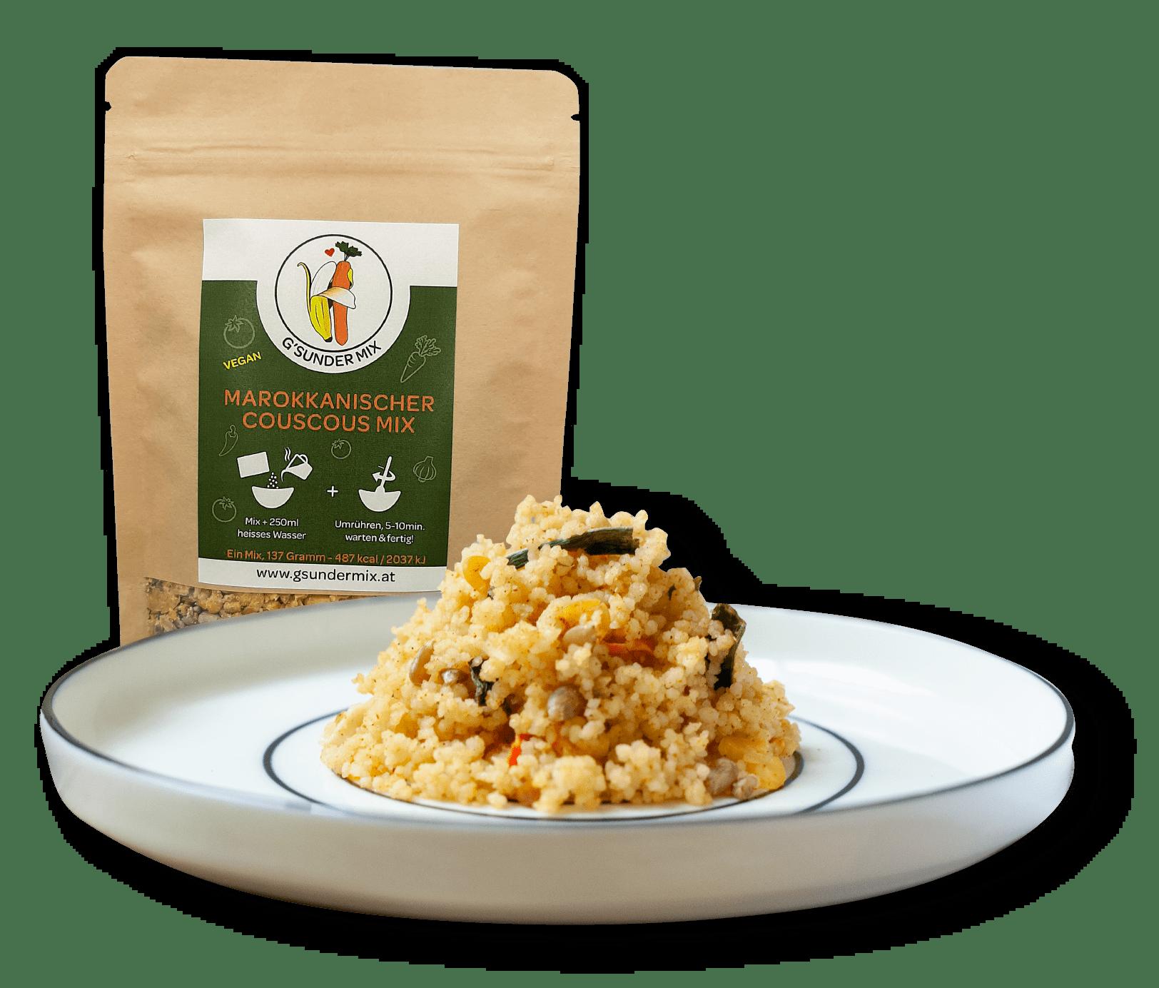 Marrokanischer Couscous Mix auf Teller mit Verpackung dahinter